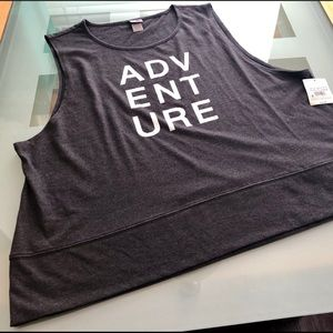 Sleeveless tank top w/ foil letters activewear